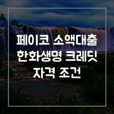 페이코-소액-한화생명-크레딧-대출-자격-조건
