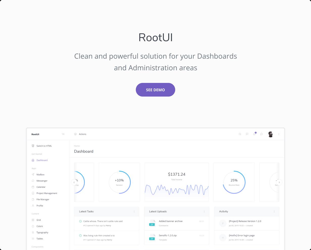 React 어드민 대시보드 RootUI 무료 다운로드 2021년 8월