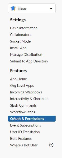로봇 메뉴의 OAuth&Permissions 클릭