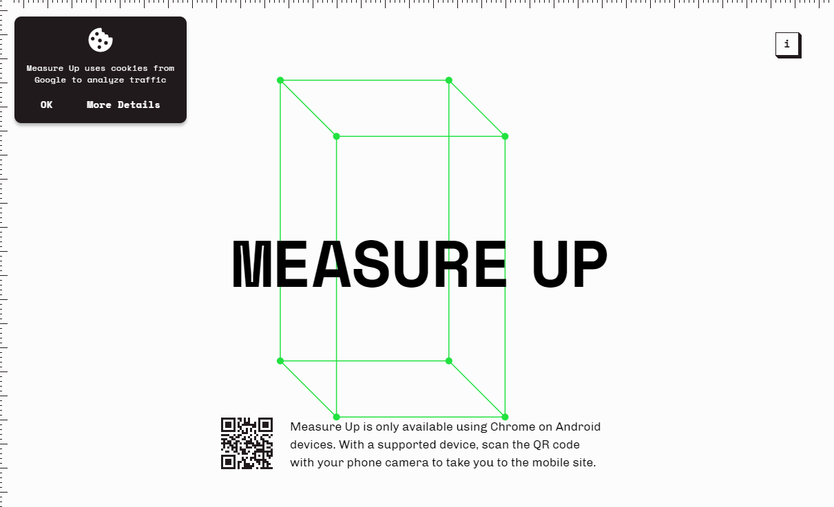 사물 부피를 측정할수 있는 구글 웹 앱 MEASURE UP