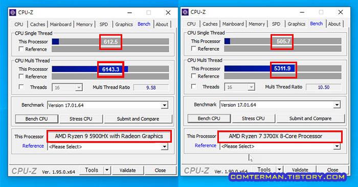 라이젠 5900HX 3700X CPU-Z 벤치