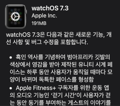 애플워치 WatchOS 7.3 업데이트(feat. 애플와치 연결해제)