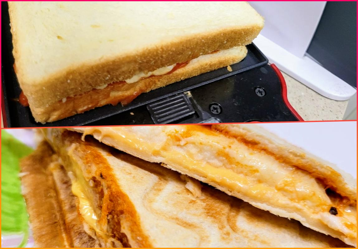 텀즈 와플 메이커로 만든 샌드위치