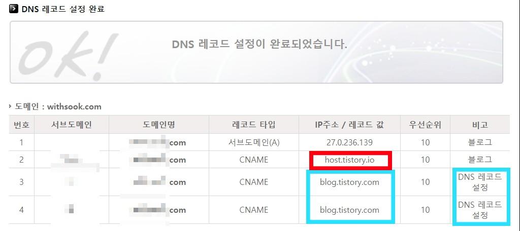 티스토리블로그 DNS 설정6