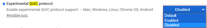 QUIC protocol disable 설정