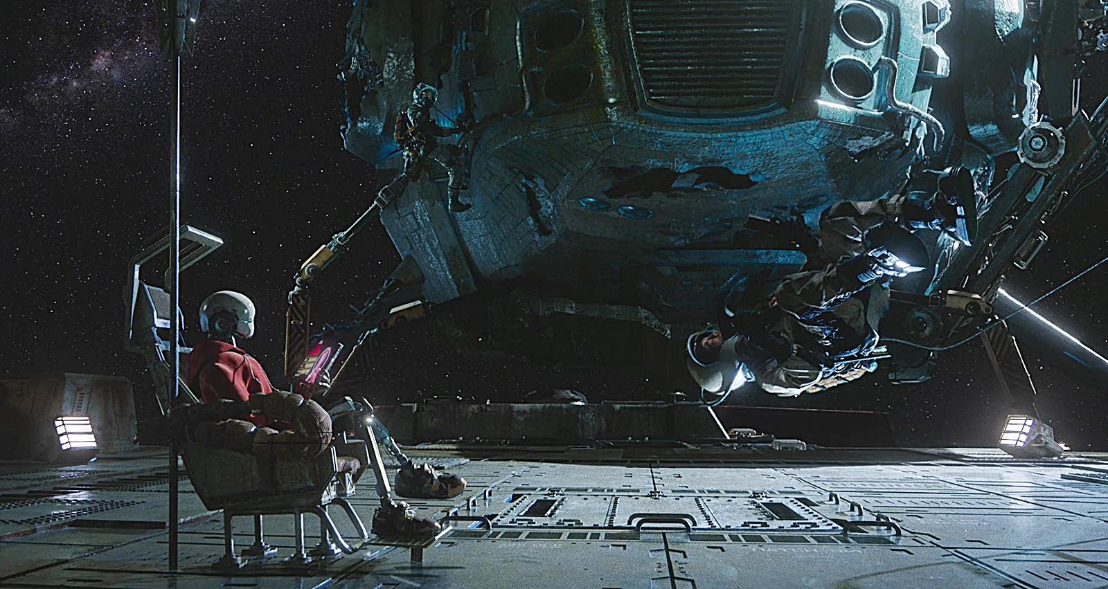 우주 작업 장면
