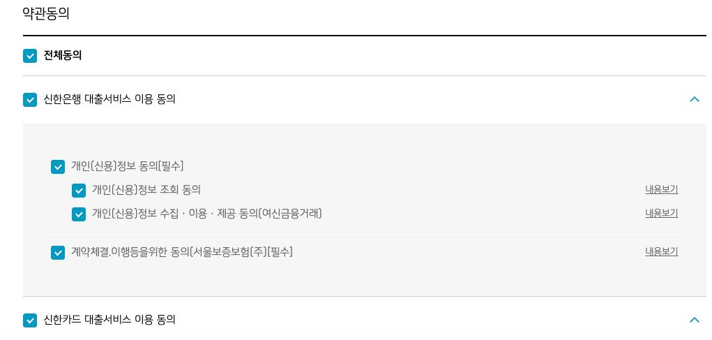 신한은행마이카대출_약관동의