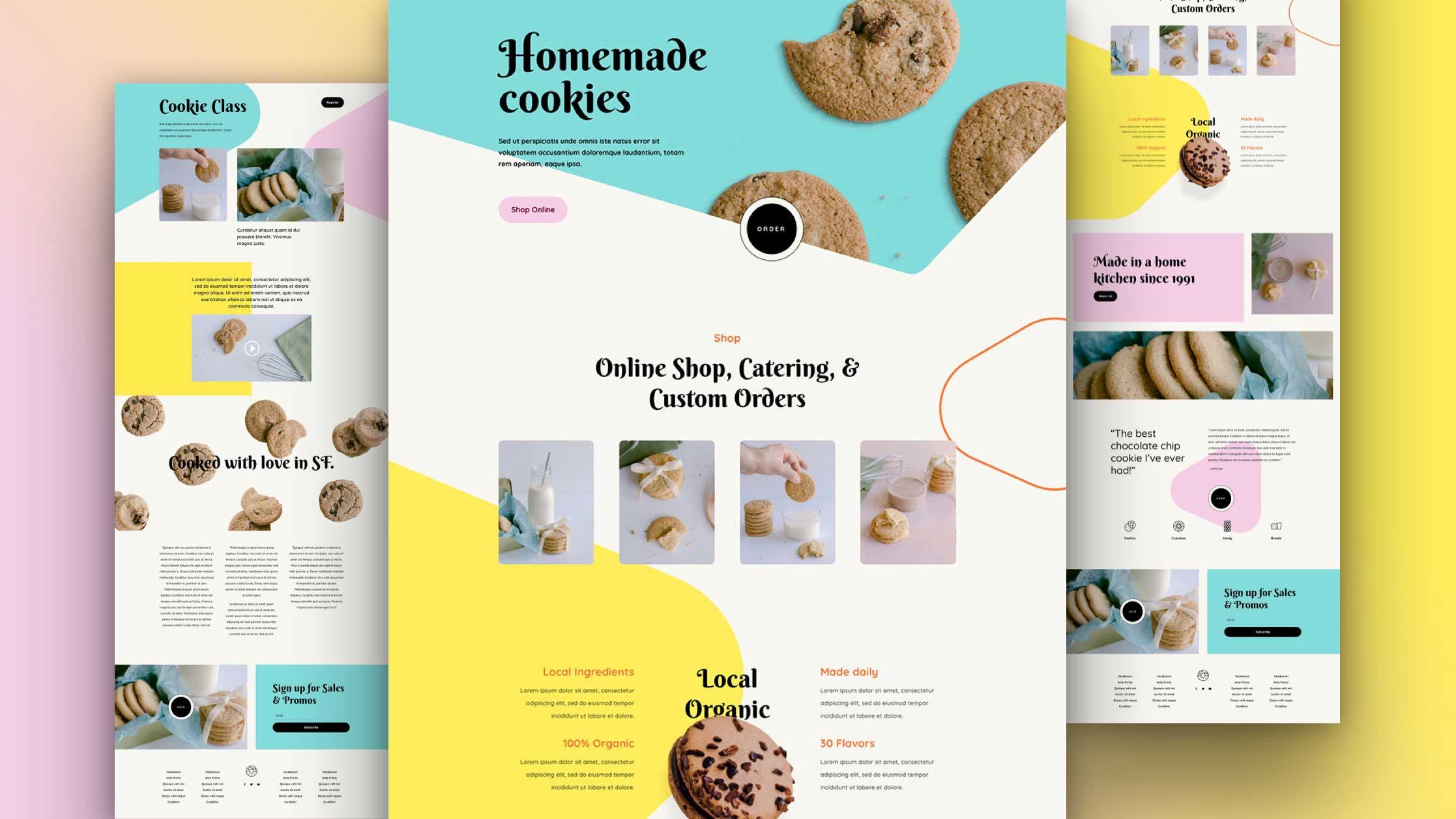 워드프레스 Divi 테마용 무료 수제 쿠키(Homemade Cookies) 레이아웃 팩 다운로드
