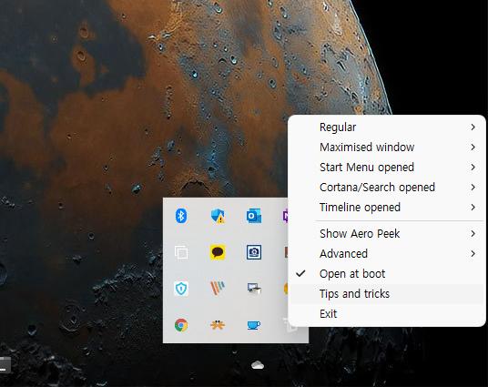 윈도우11 작업표시줄 투명하게 만들기 캡처3