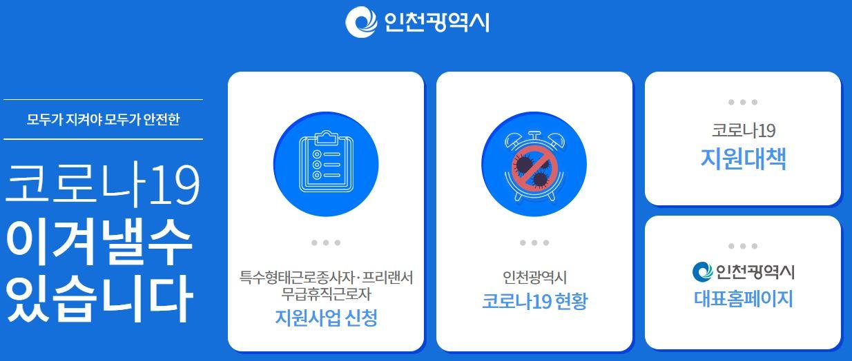 인천 광역시 특수 형태 근로 종사자 프리랜서 무급휴직 근로자 생계비 지원금 신청방법