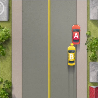 불법주차된 차량과 발생한 추돌사고