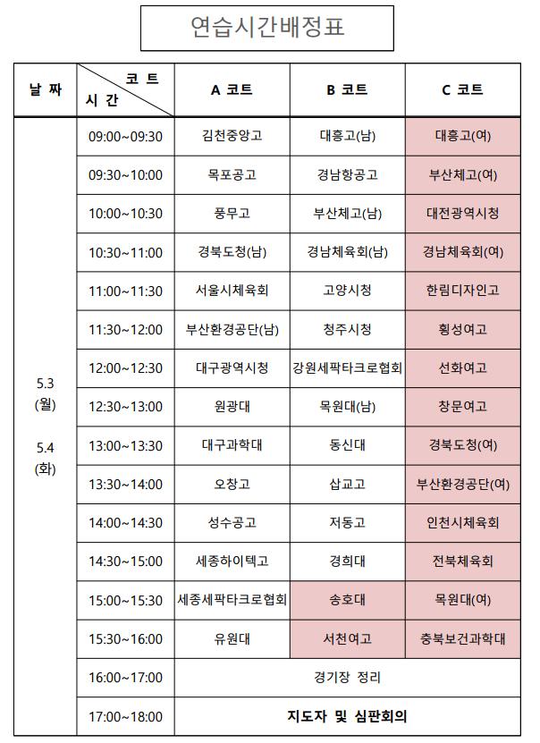 세팍타크로연습시간배정표