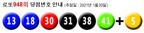 로또948회당첨번호 : 21, 27, 29, 38, 40, 44 + 37