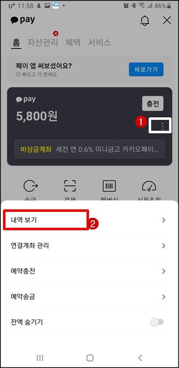 카카오페이-송금-내역-확인