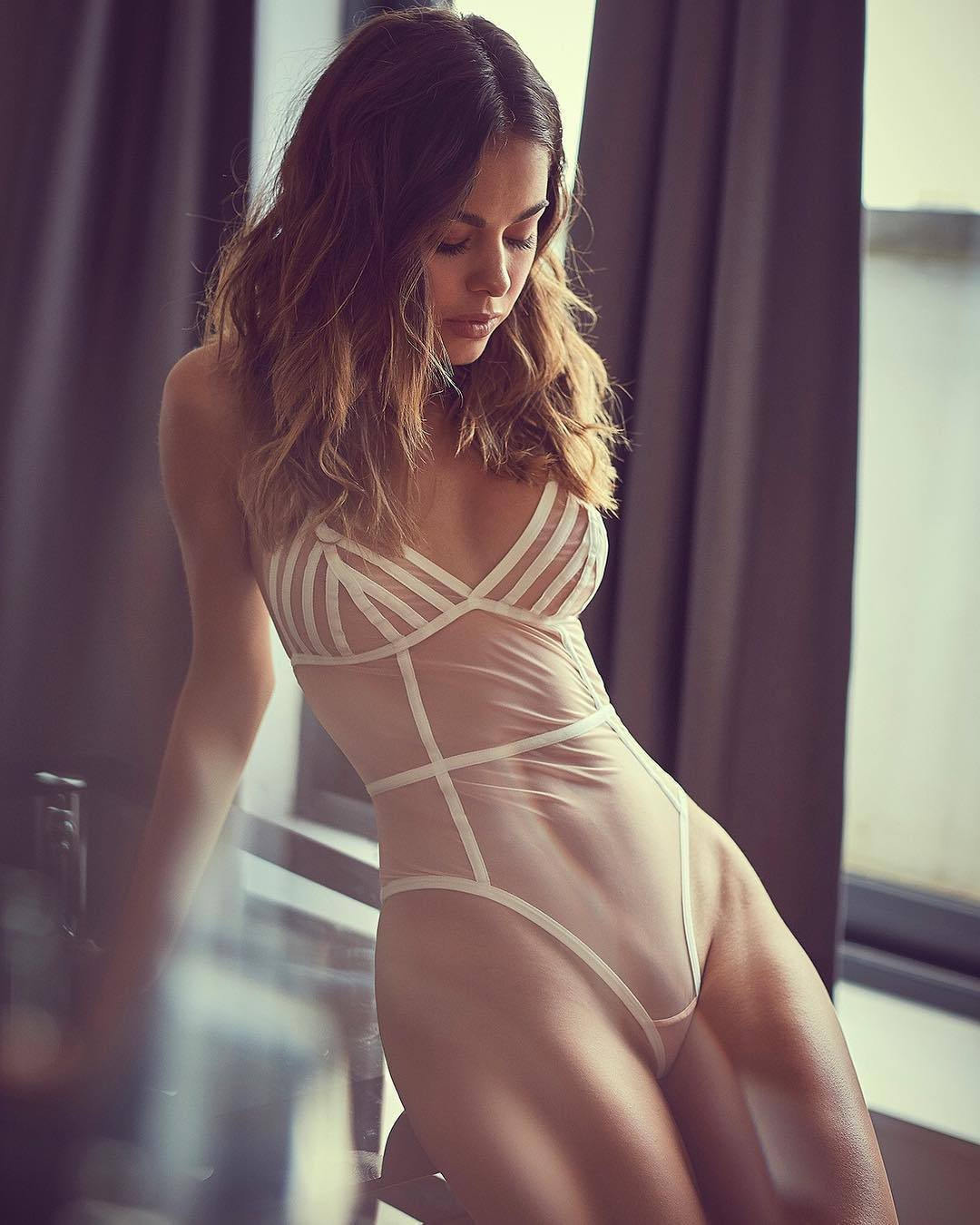 cool mood girl wearing see through lingerie