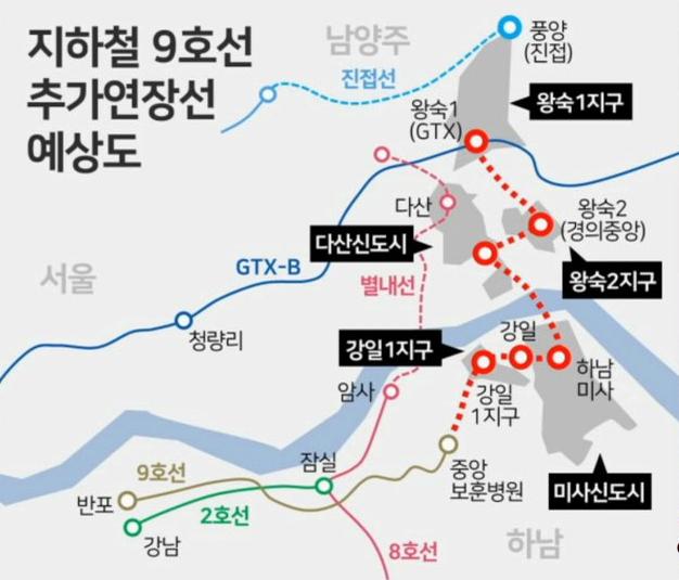 지하철-9호선-4단계-연장안-노선도