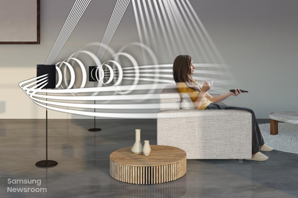▲ 삼성전자 사운드바 HW-Q950A의 서라운드 효과를 보여주는 이미지