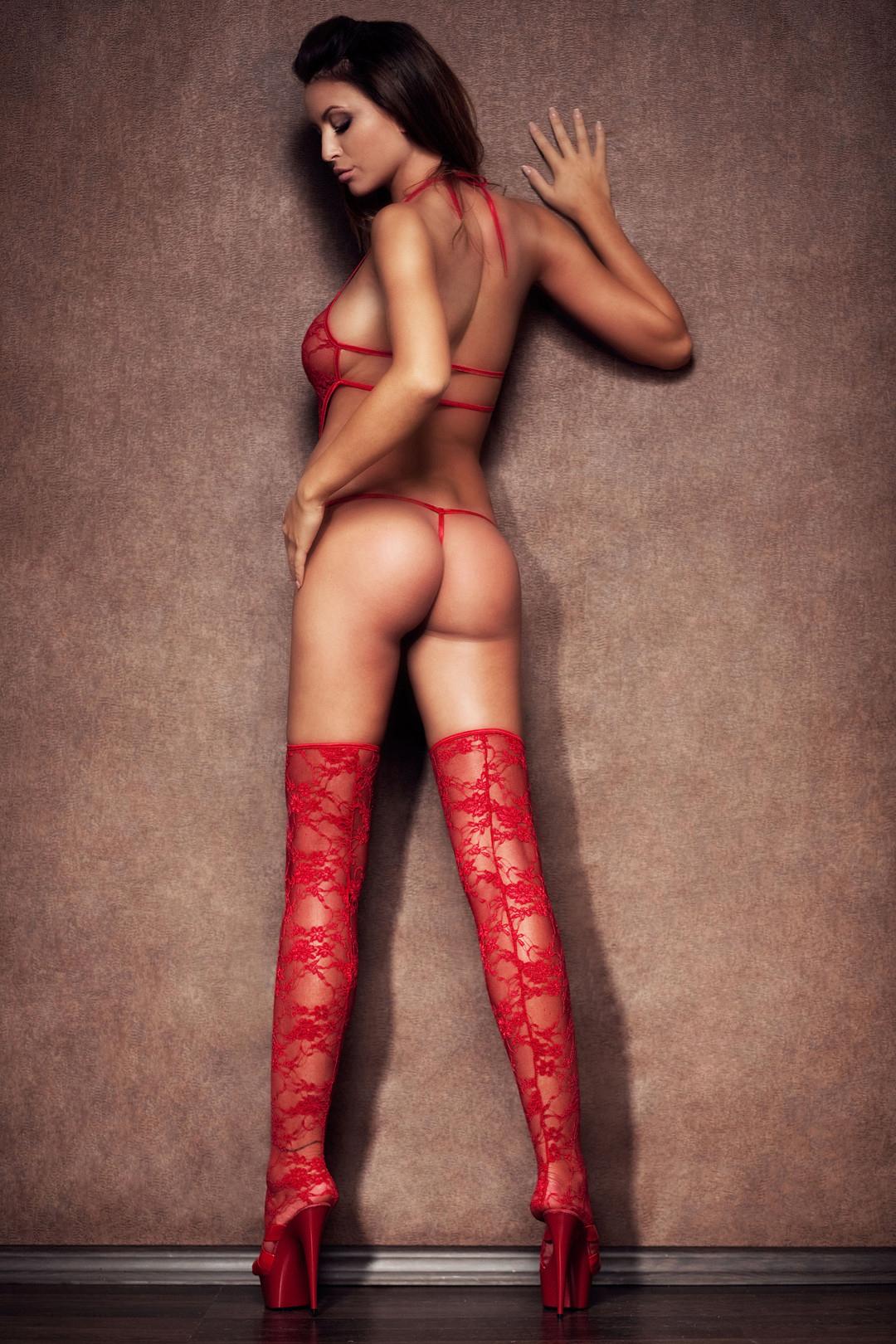 hot women's back who wearing see through red lingerie - Monika Pietrasinska