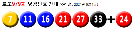 로또979회당첨번호 : 21, 27, 29, 38, 40, 44 + 37