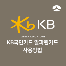 KB국민카드 알파원카드 사용방법 01