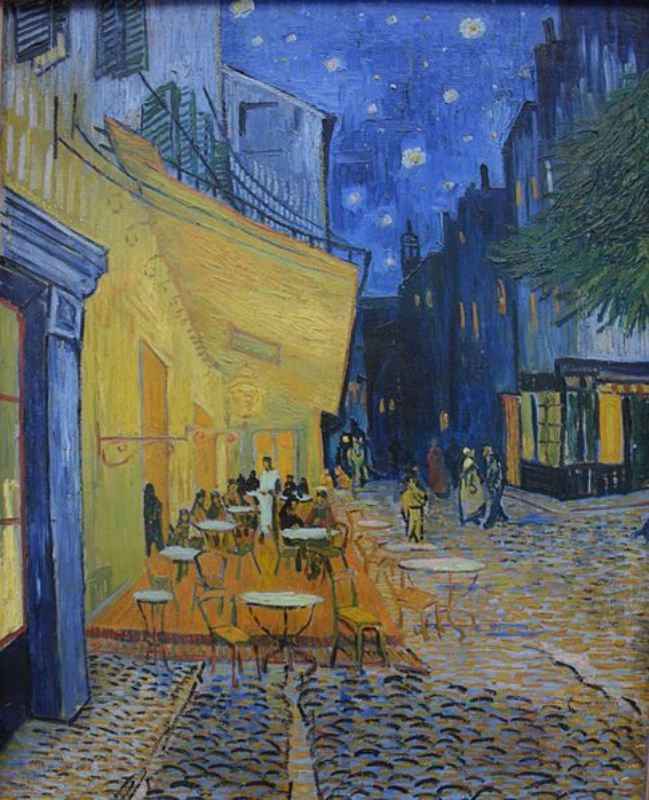고흐의 명화 밤 카페의 테라스로 보색을 잘써 생동감있는 명화로 유명한 작품