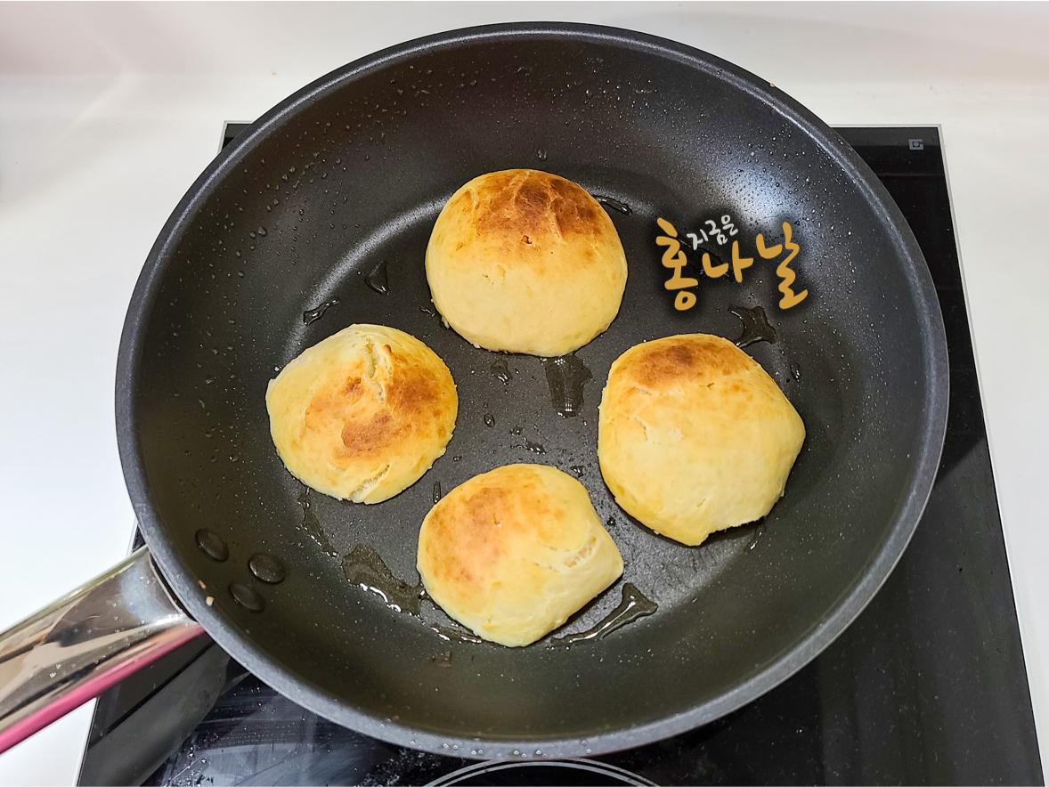[햄버거] 모닝빵 가른 면 굽기