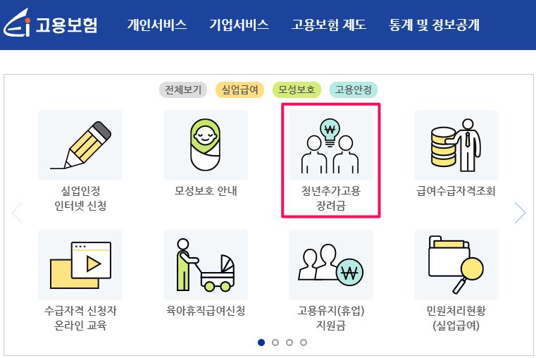 2021년-청년추가고용장려금-신청-고용보험-사이트