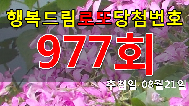 로또977회당첨번호 안내