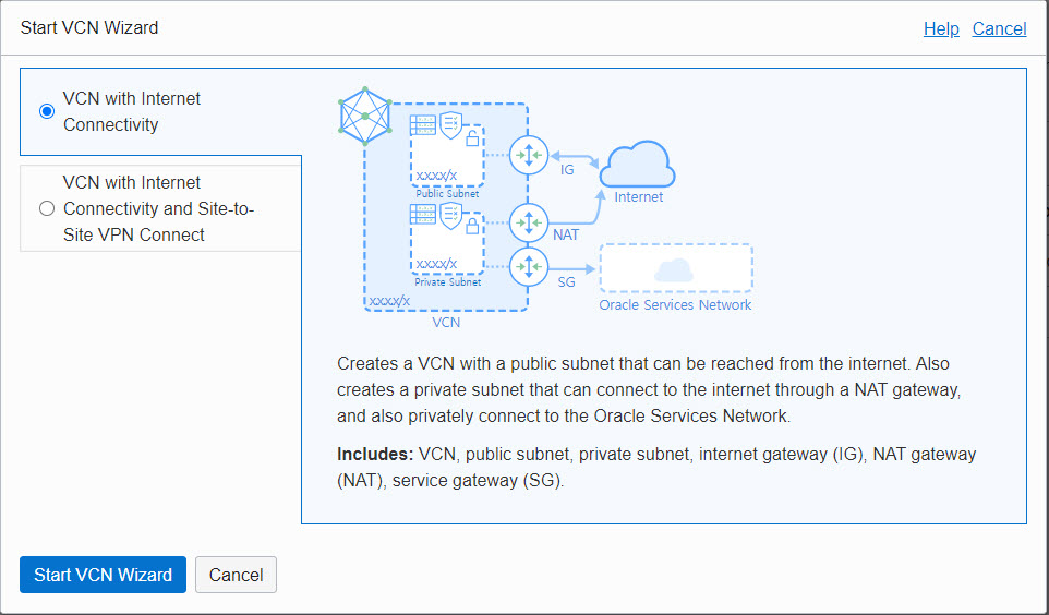 VCN Wizard - VCN With Internet Connectivity