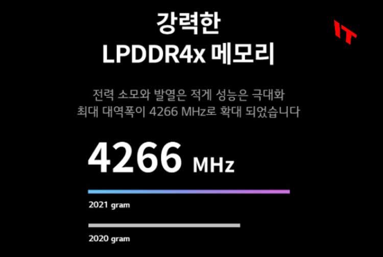 그램 LPDDR4x 메모리 성능