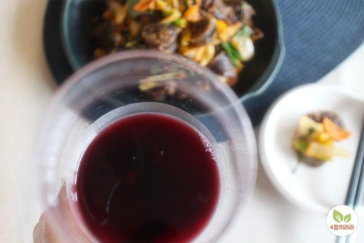 순대볶음완성 와인한잔