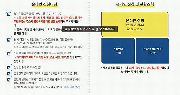 경기도 2차 재난지원금 신청 방법 관련 이미지육