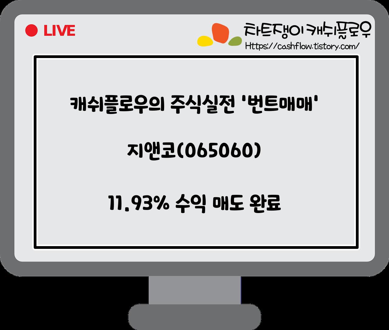 매도완료)지앤코(065060) 11.93% 수익 매도 완료