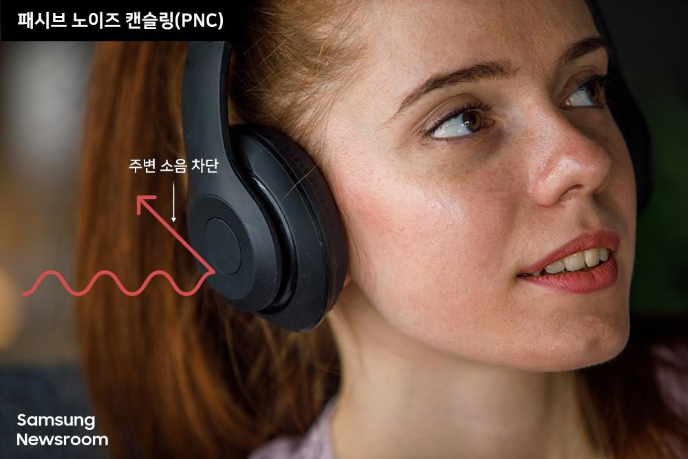 ▲ 헤드폰으로 음악 듣는 여성 패시브 노이즈 캔슬링(PNC) 주변소음 차단