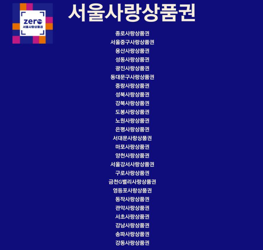 서울사랑상품권 사용처