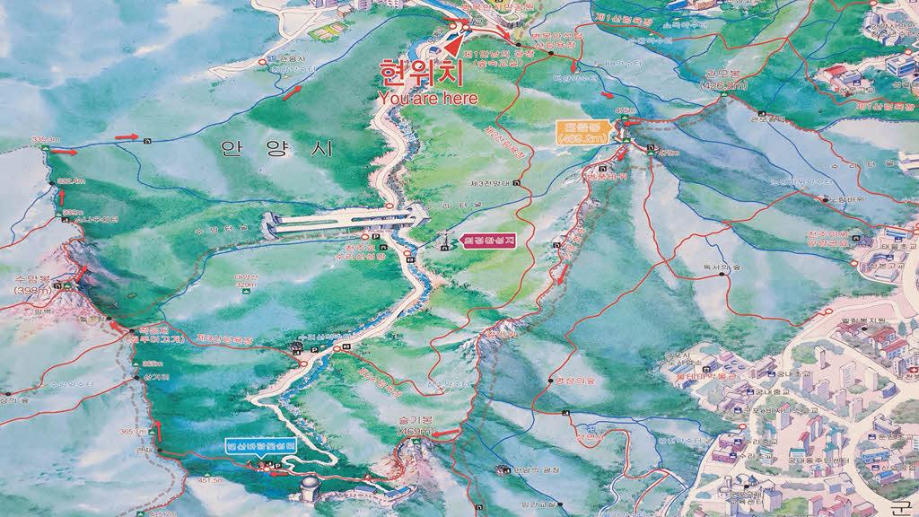 병목안시립공원 시작 - 슬기봉-  태을봉을 순환하는 수리산 일주 코스