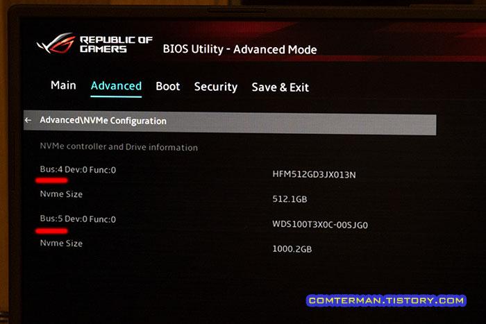 ROG Strix G17 G713QM 바이오스 SSD
