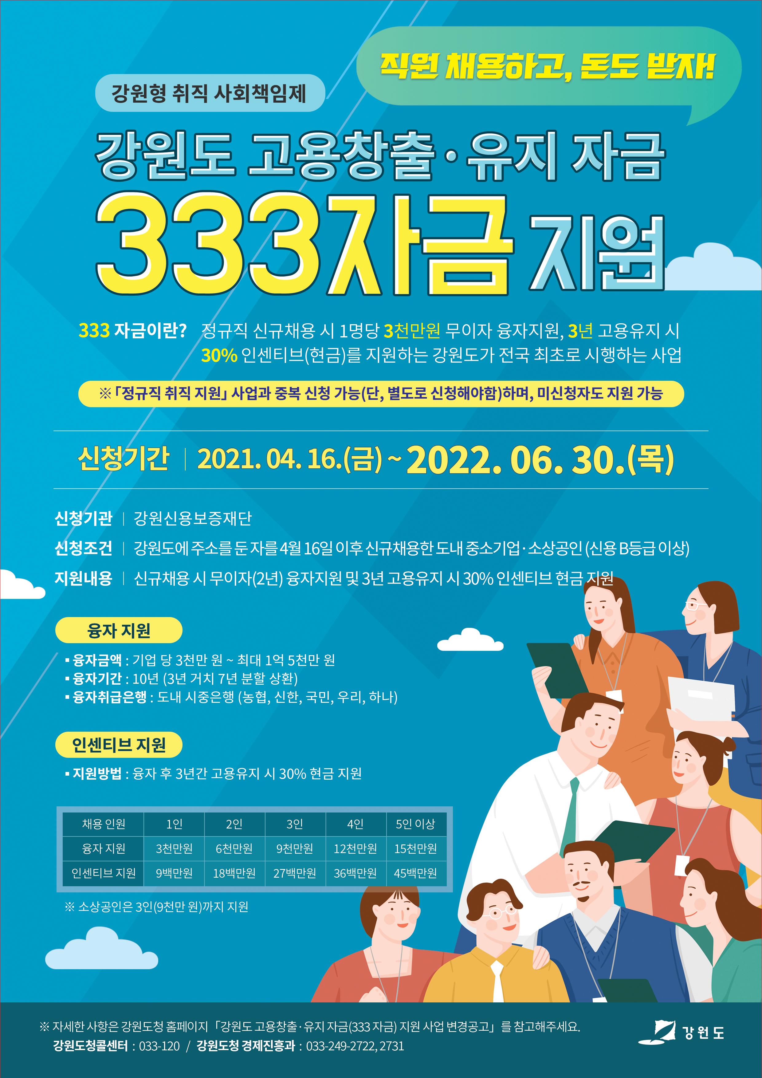 [안내] 강원도청 | 강원도 고용창출․유지 자금(333 자금)지원 사업