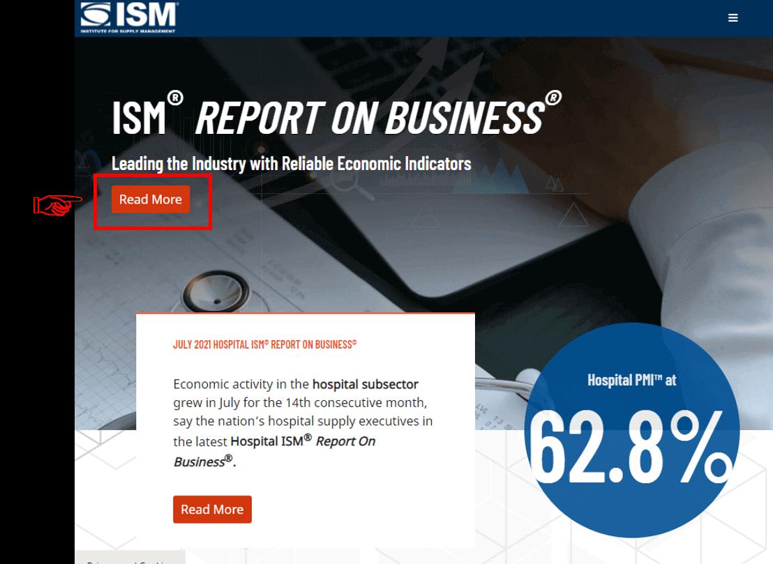 ISM 홈페이지 메인화면에서 PMI를 볼 수 있는 곳을 표시한 화면