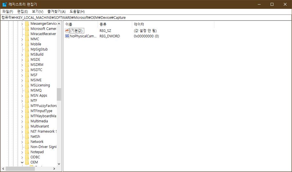 윈도우10 카메라 인디케이터 활성화 사진 2