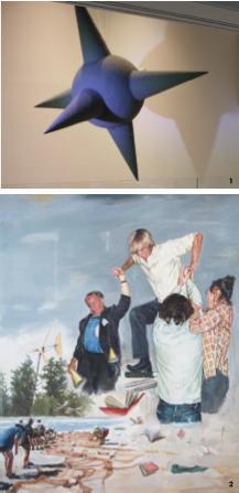 1. '교환 X로서의 세계', 혼합매체, 300×300×300cm, 2013 2. 'False Step', oil on canvas, 130.3×162cm, 2011