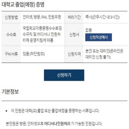 정부24 졸업증명서 인터넷발급