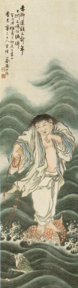 <하마선인도(蝦蟆仙人圖)>, 안중식, 종이에 수묵담채, 126.2×33.2cm, 1898년, 서울대학교박물관 유해가 표주박을 타고, 동전 달린 붉은 끈으로 물속에 있는 두꺼비를 희롱하고 있다. 동전에 마음을 뺏긴 두꺼비 표정이 재미있다. 출렁이는 물결 묘사와 색채 감각이 돋보이는 걸작이다.