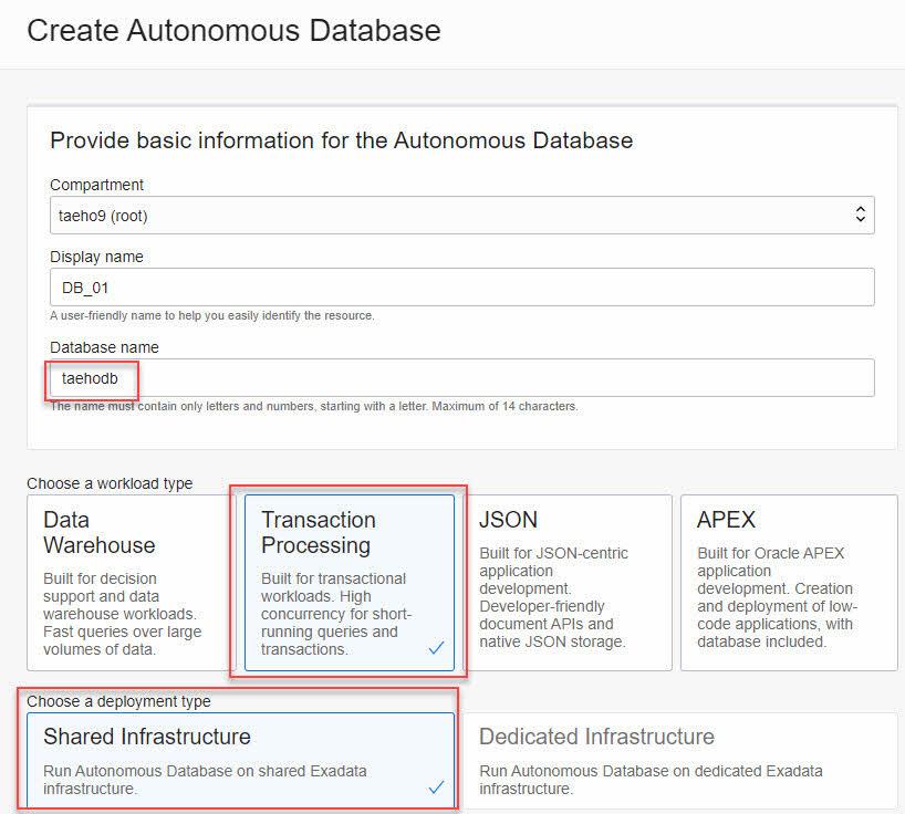 Oracle Cloud Database Create