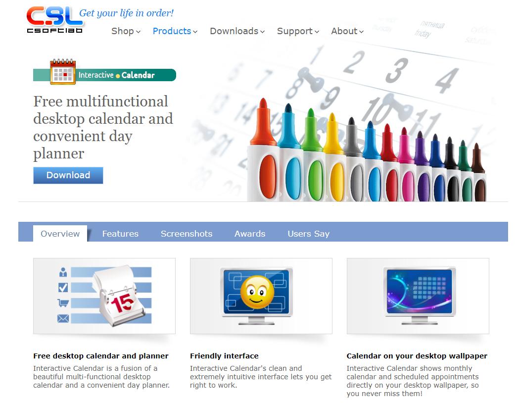 interactive caendar 홈페이지