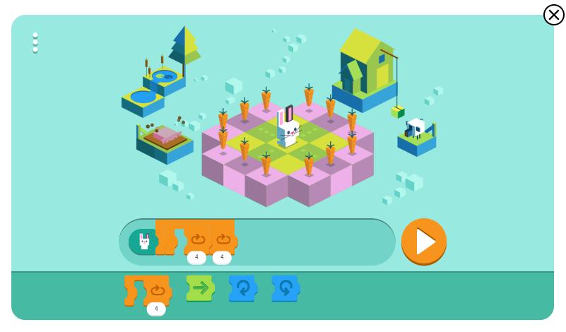 구글 토끼 코딩 게임3