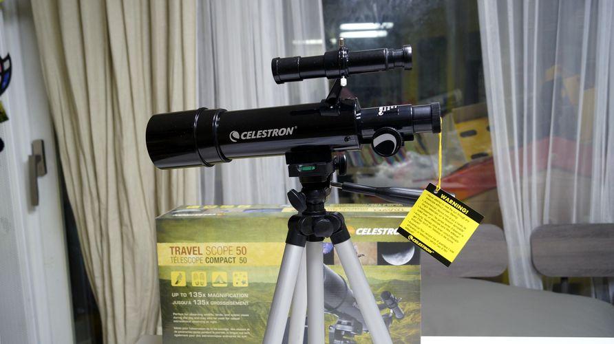 셀레스트론 travel scope 50 망원경 삼각대 장착모습