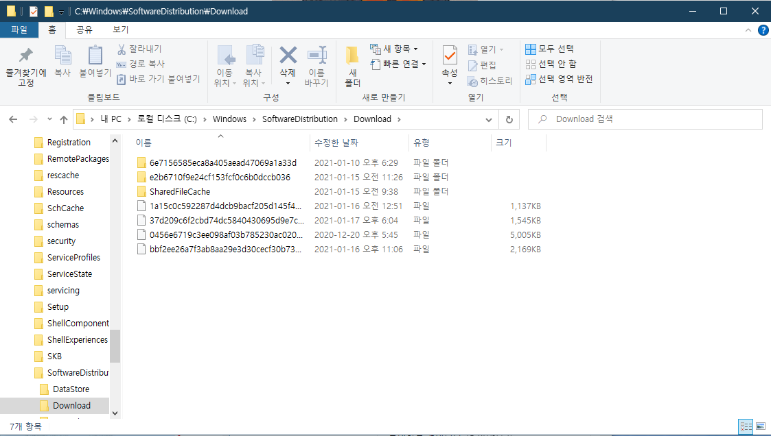 SoftwareDistribution 폴더
